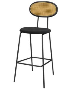 Black metal legs cane bar chair