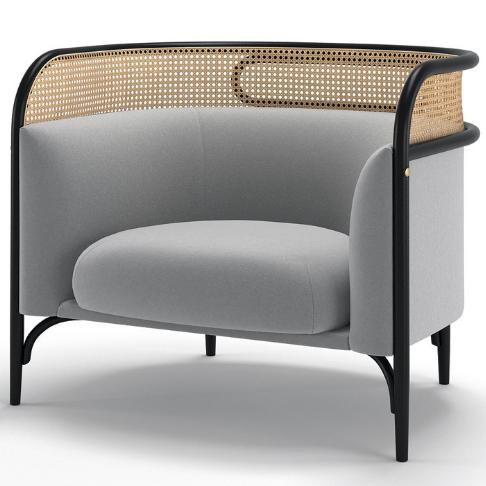 Wood Cane Back Lounge Sofa Chair