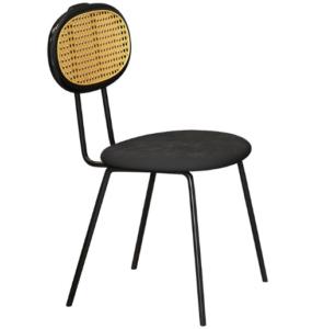 Metal legs velvet upholstered seat cane back chair
