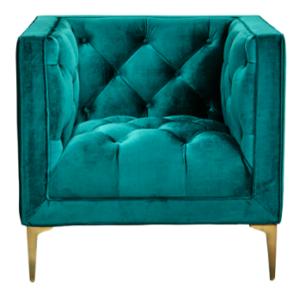 Emerald green velvet gold legs single sofa