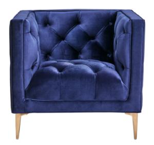 Navy blue velvet gold legs single sofa