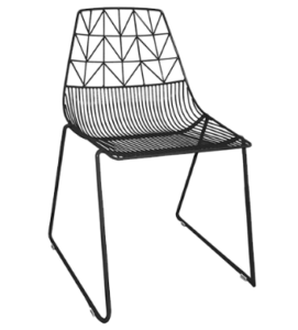 Black powder coated Metal Wire Dining Chair