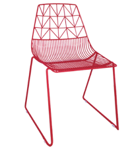Red powder coated Metal Arrow Dining Chair