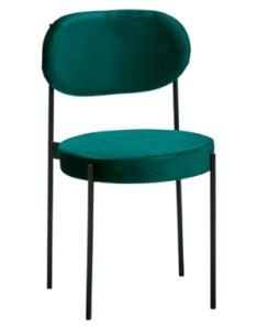 Black metal legs emerald green velvet dining chair
