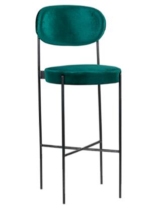 Black metal legs emerald green velvet bar chair