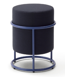 Metal base navy blue fabric round small ottoman