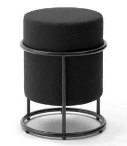 Black metal base round small ottoman
