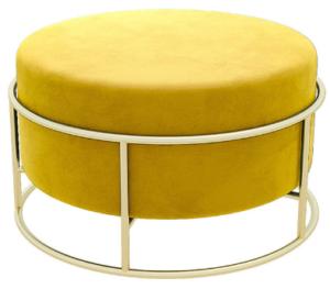 Golden metal base yellow velvet round ottoman