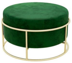 Golden metal base green velvet round ottoman