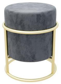 Golden metal base gray velvet round small ottoman