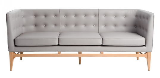Gray PU leather wooden legs 3 seater lounge sofa