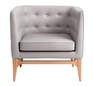 Gray PU leather wooden legs sofa armchair