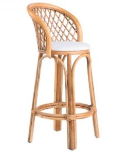 Natural rattan bar stool in brown