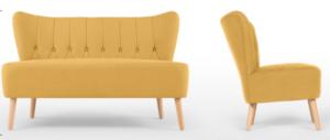 Tufted button Yellow linen wooden legs sofa