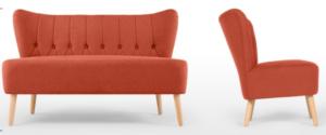 Tufted button Orange linen wooden legs sofa