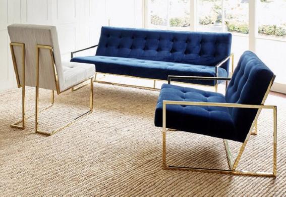 Gold plated navy blue velvet upholstered sofa chair