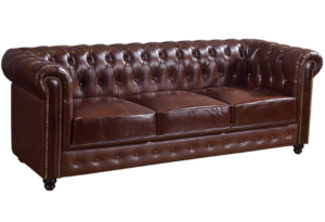 Tufted Brown leather wooden legs retro 3 seater sofa