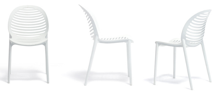 All weather white stackable plastic dining chair