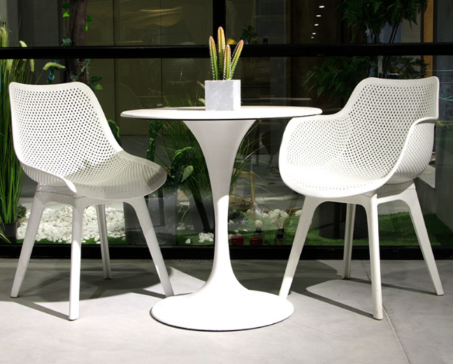 White plastic outdoor cafe chair