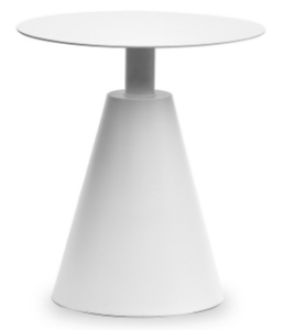 White aluminum outdoor side table