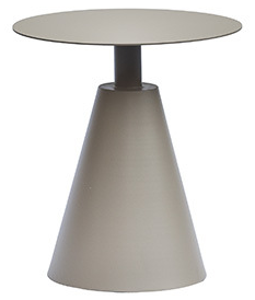 Aluminum outdoor side table in taupe