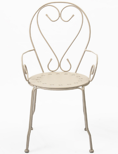 White powder coated metal bistro chair