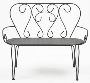 Black powder coated metal bistro bench chair