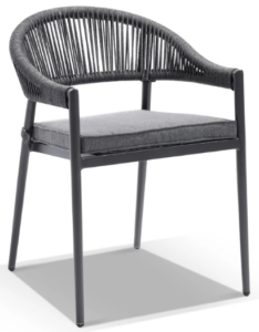 Outdoor Aluminium Frame Dk Gray Rope Stackable Dining Chair