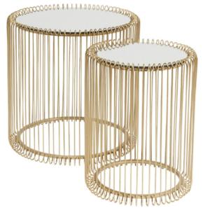 Modern design gold wire side table set