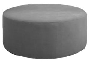 Large Gray Velvet Round Ottoman