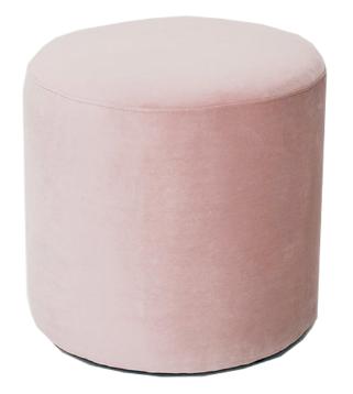 Blush Pink Velvet Round Standard Ottoman