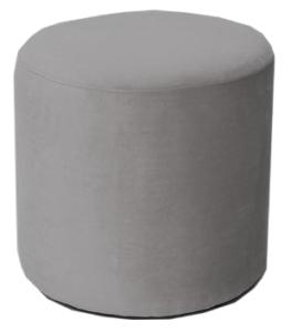 Gray Velvet Round Standard Ottoman