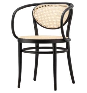 Black ash wood cane armchair