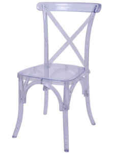 Clear transparent resin cross back chair