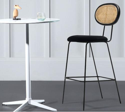 Black metal legs velvet upholsterd seat cane bar chair