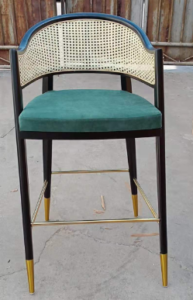Restaurant wooden cane barstool chair