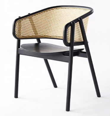 Wooden cane back dining armchair