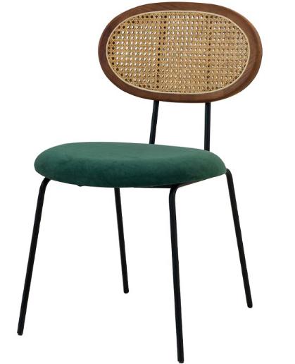 Metal legs green velvet upholstered seat cane back chair
