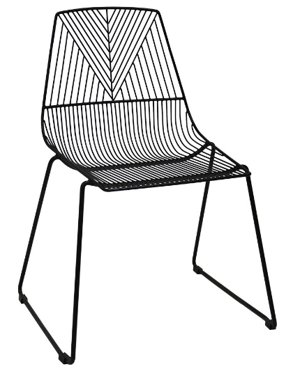 Black metal arrow wire dining chair