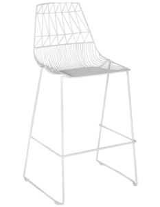 White powder coated arrow wire stackable bar chair