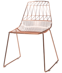 Rose gold metal arrow wire chair