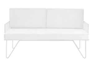 White metal wire 2 seater lounge sofa with upholstered cushion