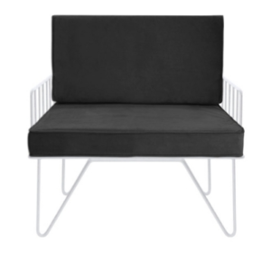 White metal wire lounge with upholstered cushion