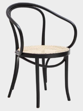 Black bentwood thonet woven cane armchair