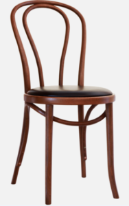 Walnut bentwood thonet upholstered seat cafe chair