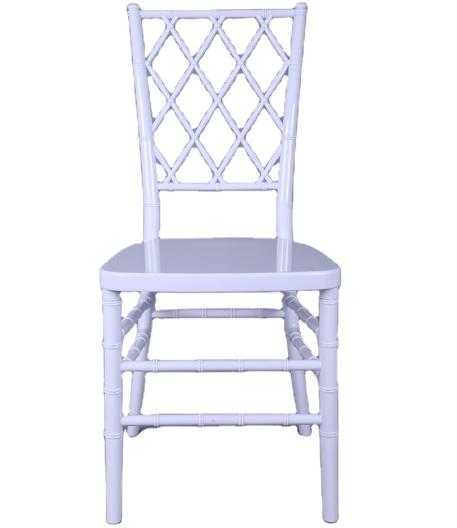 White plastic diamond wedding event chair