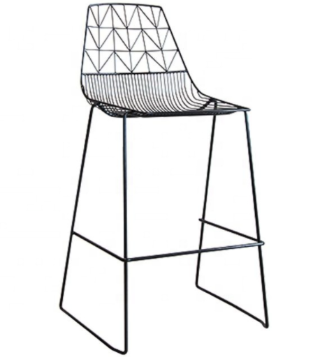 Stackable pink powder coated Metal Wire Bar Chair