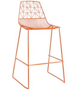 Stackable orange arrow wire bar chair