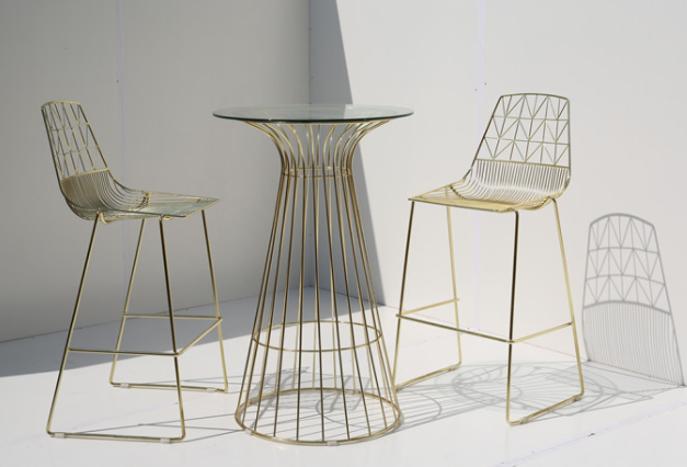 Gold plated arrow stackable Bar Chair