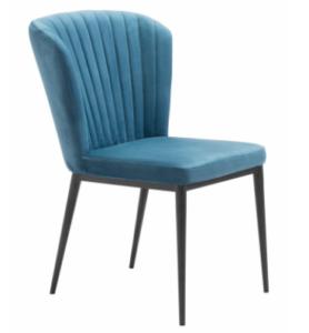 Black metal legs blue velvet dining chair